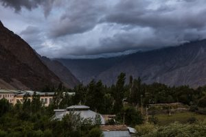 Clouds over village in the mountains