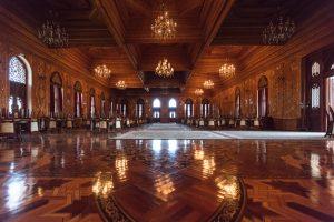 Wooden ballroom in Tajikistan